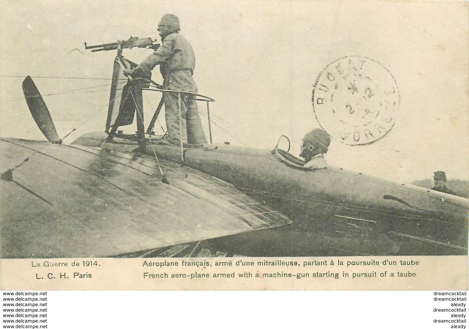 WW TRANSPORTS. Aviation Aviateur Aéroplane Aérodrome. Français Armé D'une Mitrailleuse à La Poursuite D'un Taube 1914 - Aviateurs