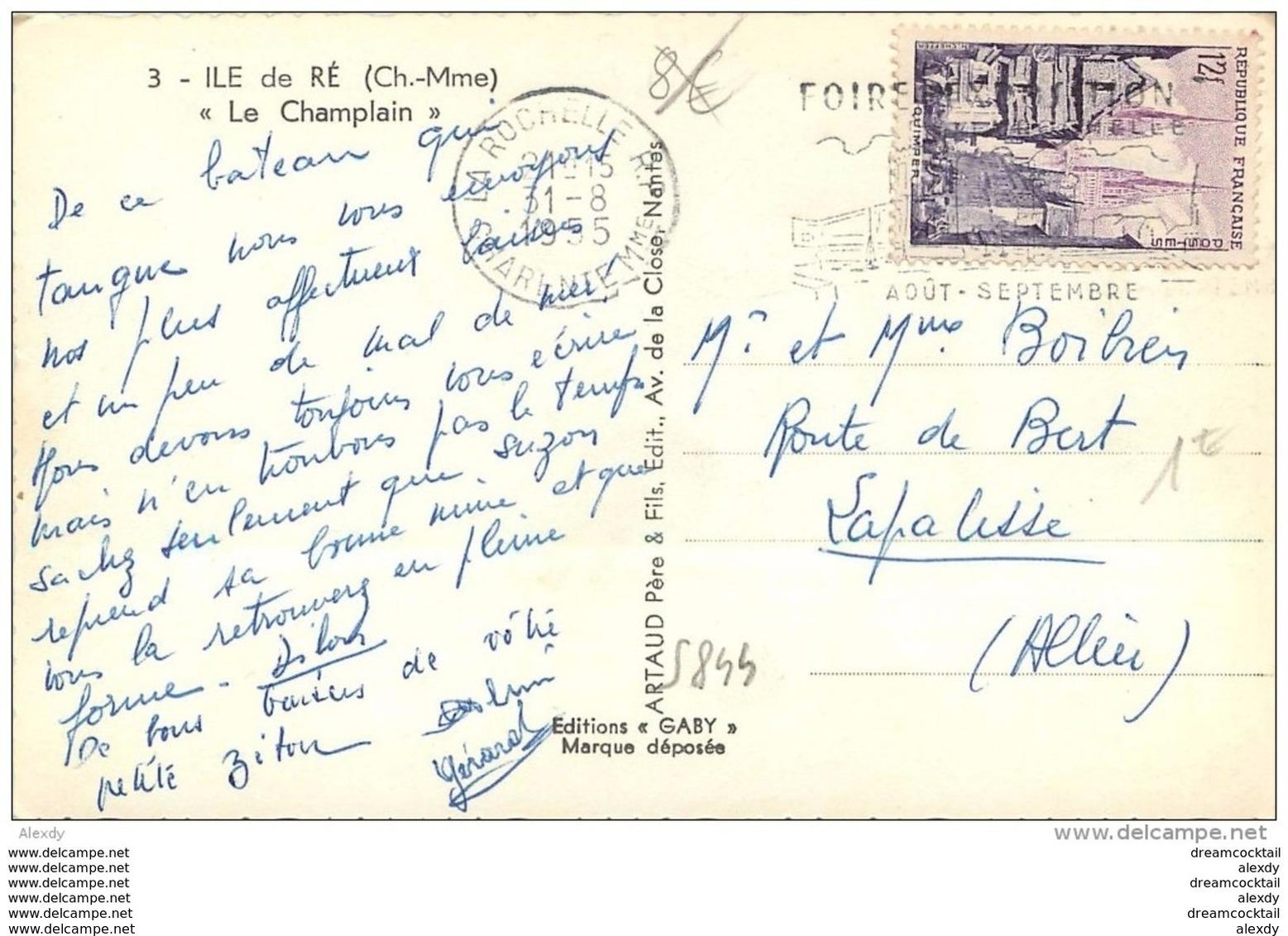 Photo Cpsm Cpm 17 ÎLE DE RE. Navire Transbordeur Le Champlain. Pour Lapalisse 1955 - Ile De Ré