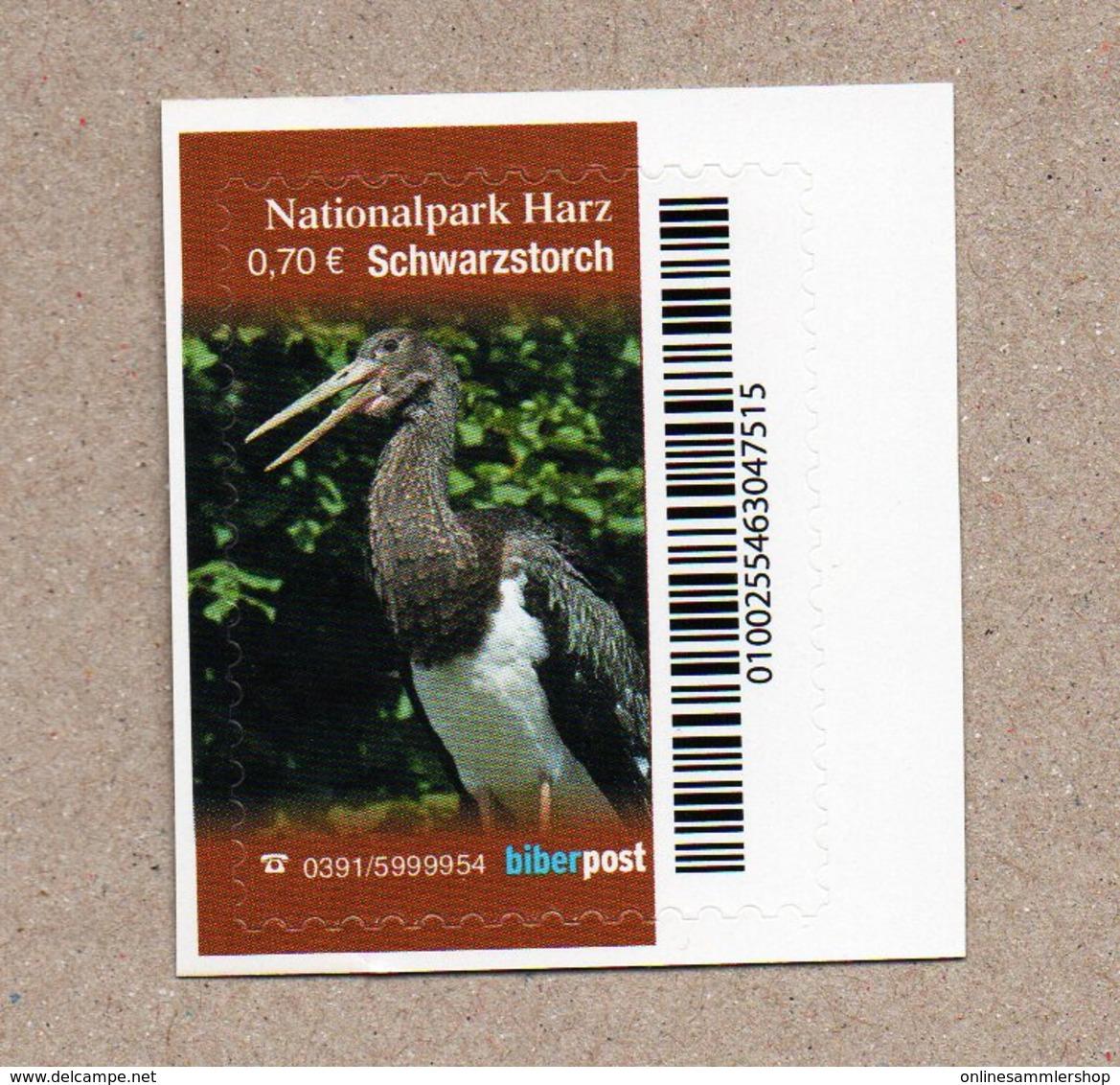 BRD - Privatpost -  Biberpost   - Schwarzstorch (Ciconia Nigra) - Storchenvögel
