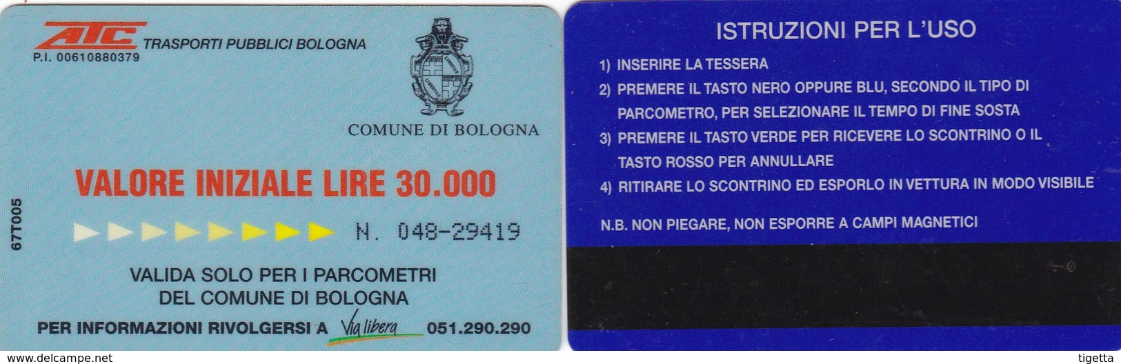 CITTA DI BOLOGNA ATC CARD PARCHEGGI - Tickets - Entradas