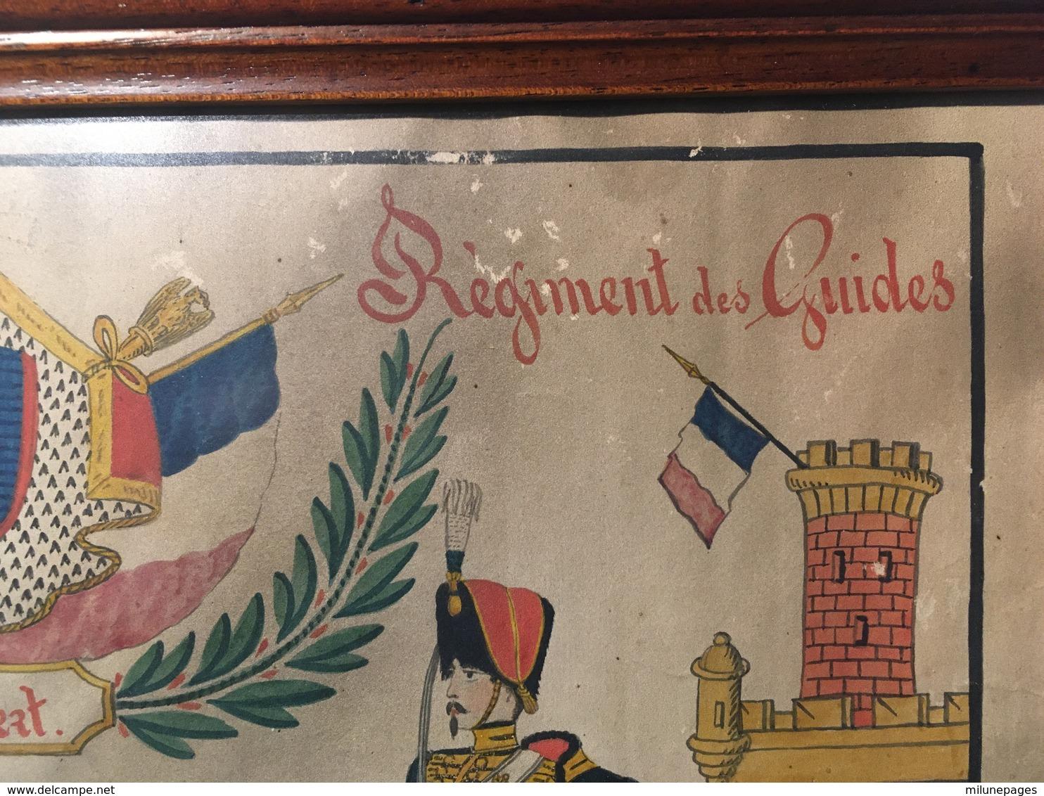 Souvenir Du Régiment Des Guides De La Garde Impériale Au Guide Chabert Dessin à La Plume Aquarellé Second Empire - Dokumente