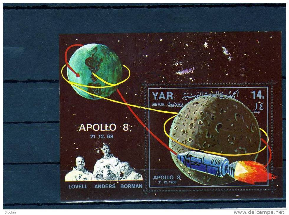 1969 Raumfahrt Apollo 8 Jemen Blocks 98+99 O 17€ Raumflug Sojus 4/5 Bloque Hoja M/s Blocs Space S/s Sheets Bf Yemen - Spazio