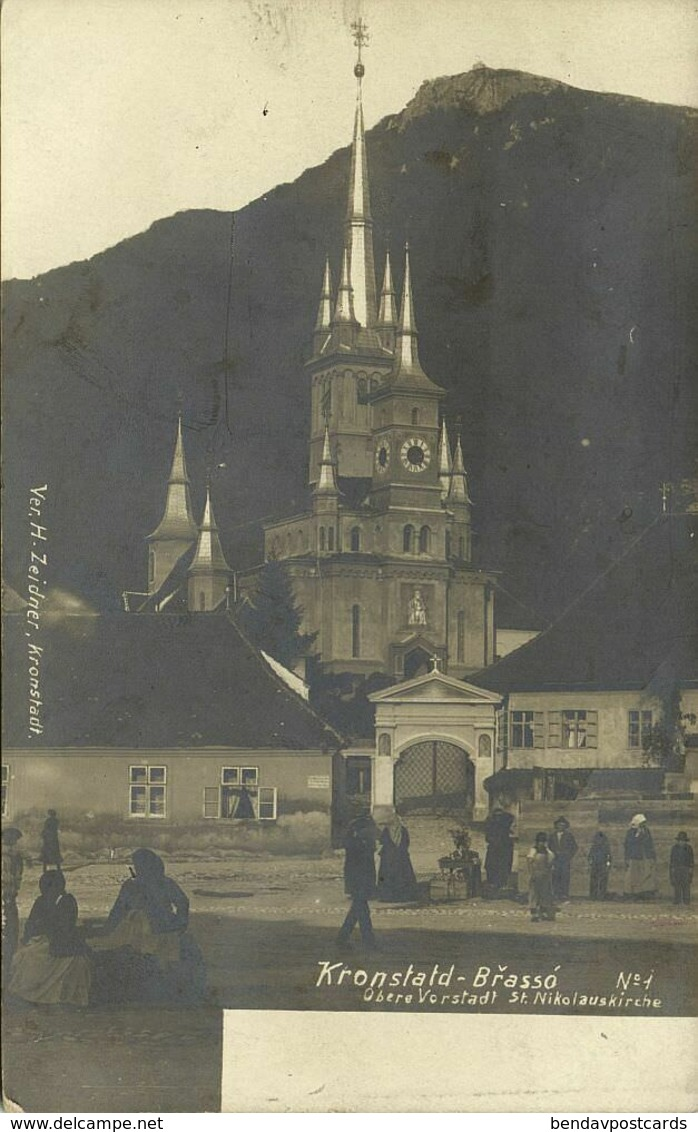 Romania, BRASSO BRASOV KRONSTADT, St. Nicholas Church (1899) RPPC Postcard - Roemenië