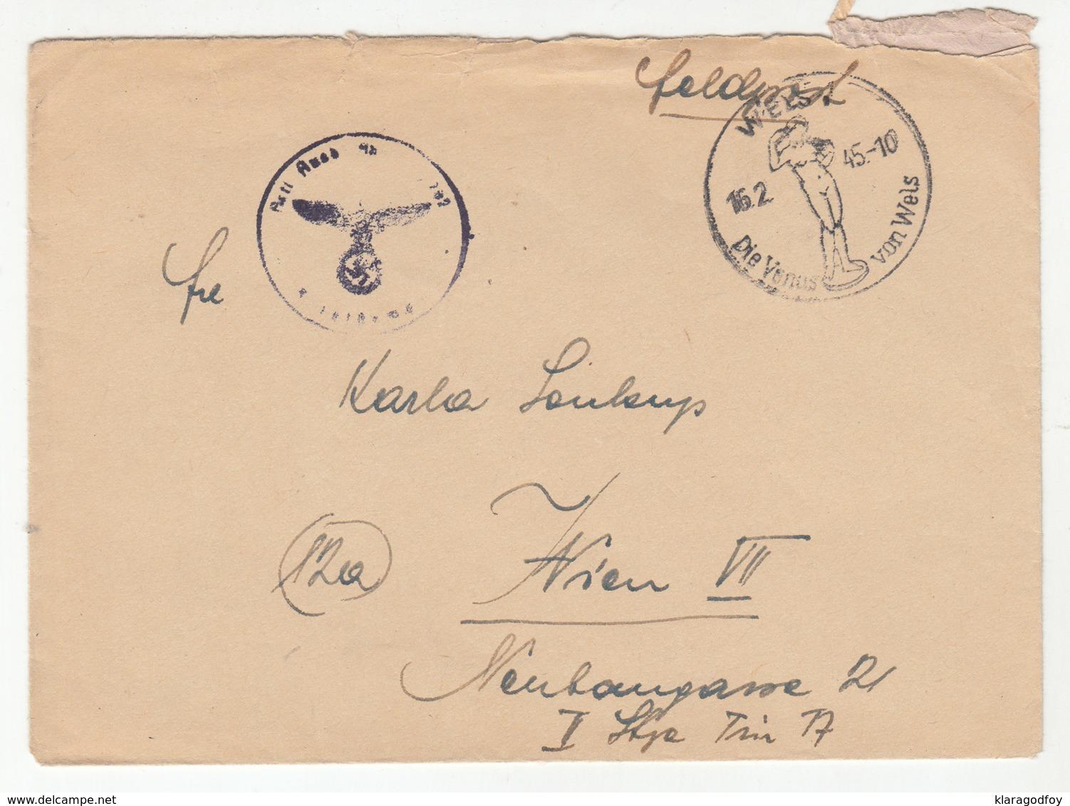 Wien Die Venus Von Wels 1945 Special Postmark On Feldpost Letter Cover Posted 1945 B191201 - Alemania