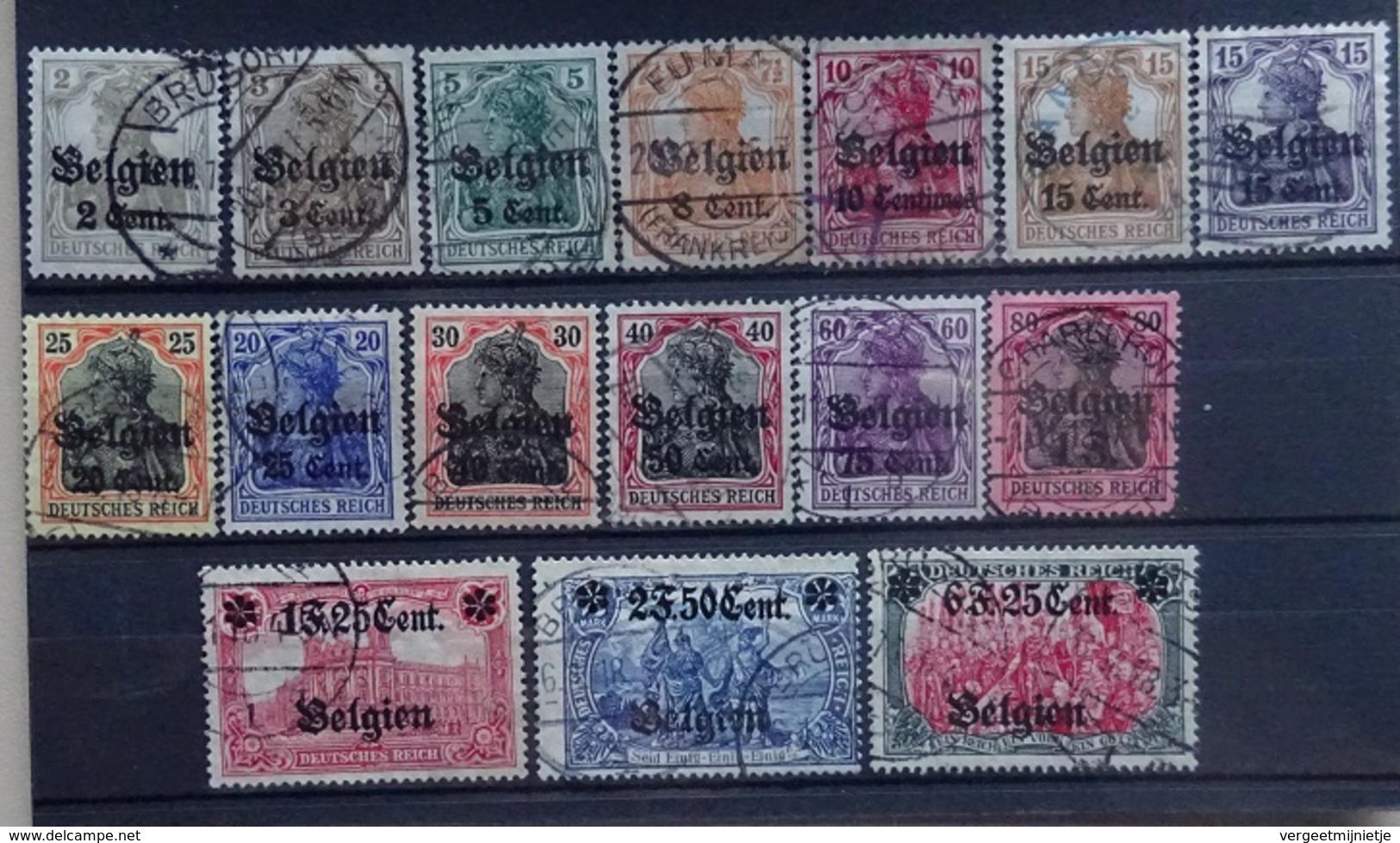 BELGIE  Bezettingszegels   1916  OC  10 - 25    Gestempeld  CW 185,00 - WW I