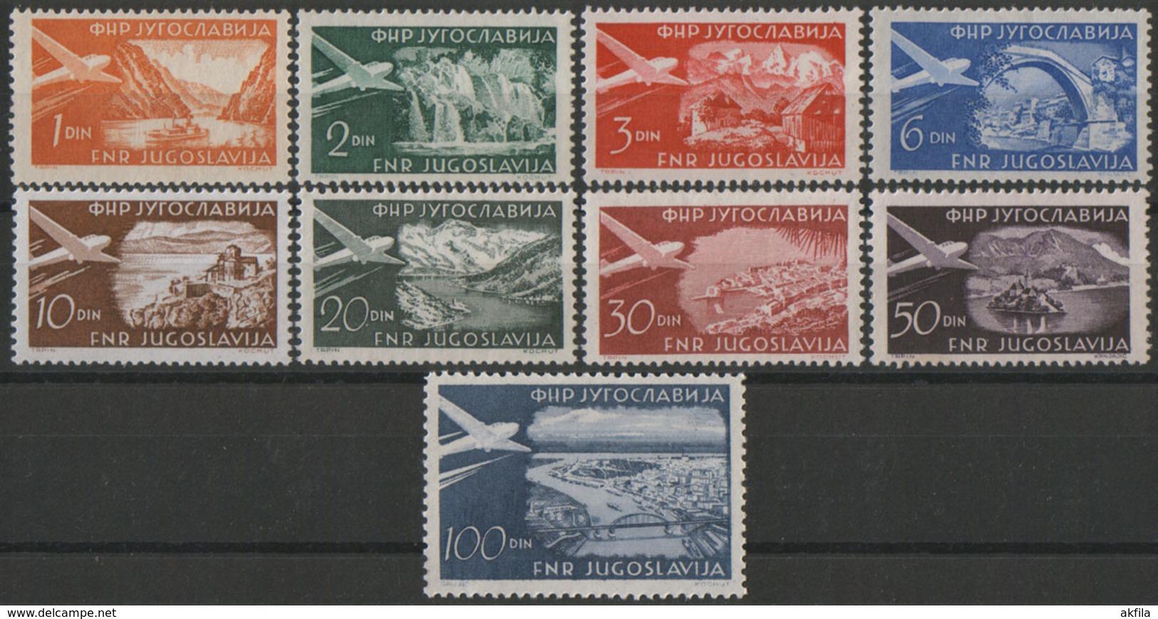 Yugoslavia 1951 Definitive - Airmail, MNH (**) Michel 644-652 - 1945-1992 Socialist Federal Republic Of Yugoslavia