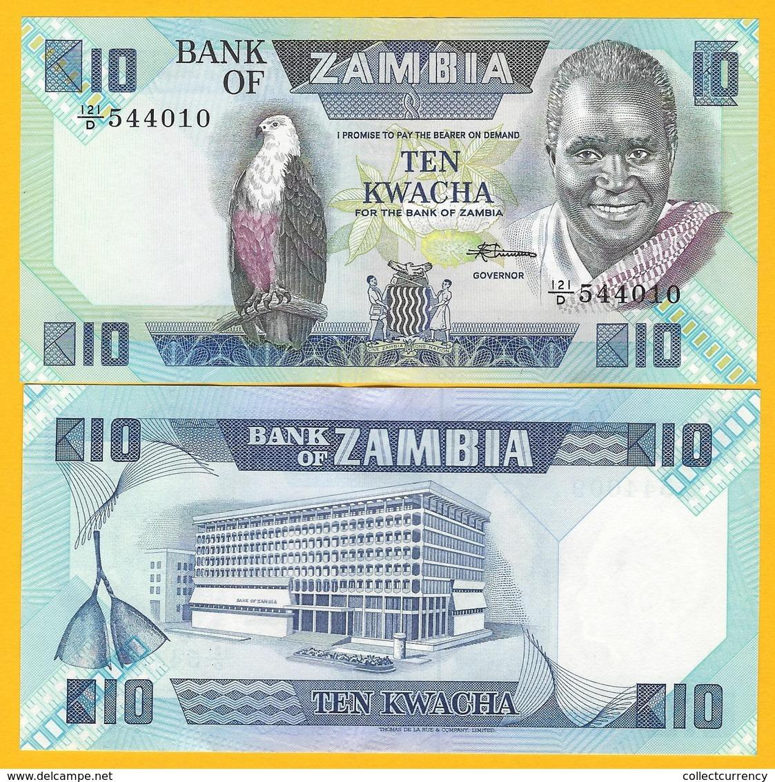 Zambia 10 Kwacha P-26e 1980-1988 UNC Banknote - Zambia