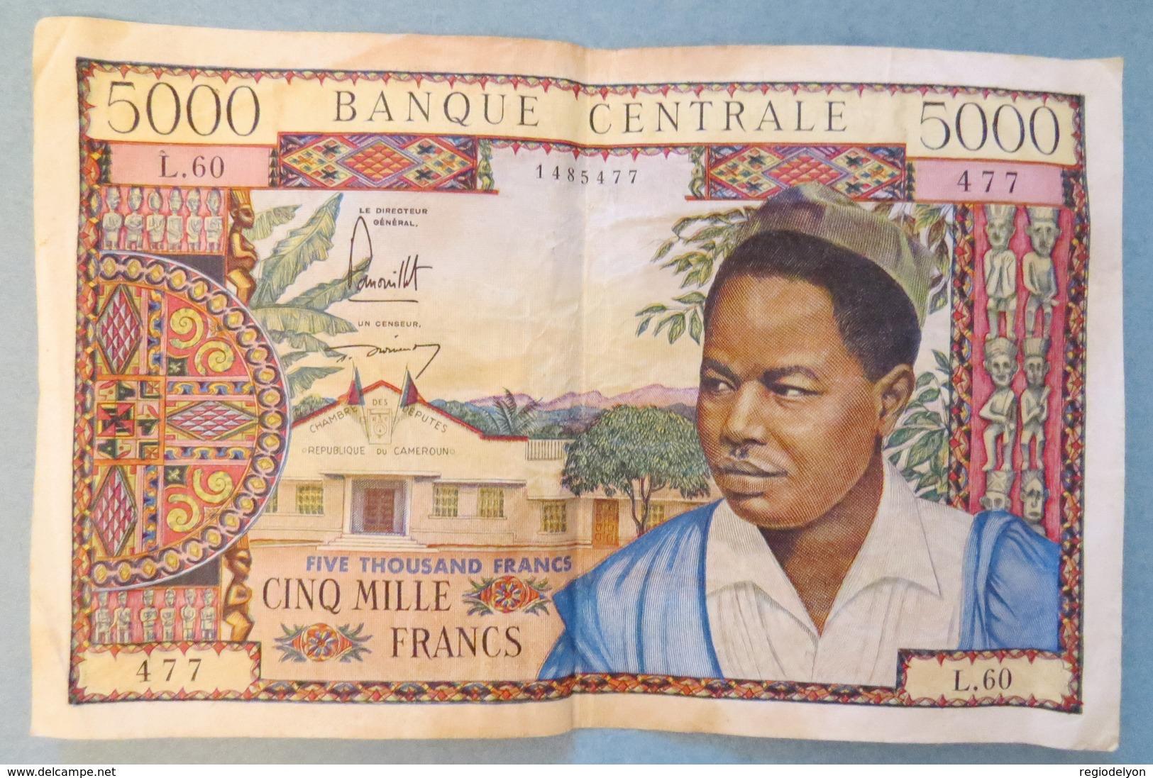 Rare Billet 5000 Francs CAMEROUN Banque Centrale 1962 1963 ? Cameroon Cinq Cents F - Bank Note Chambre Députés - Camerun