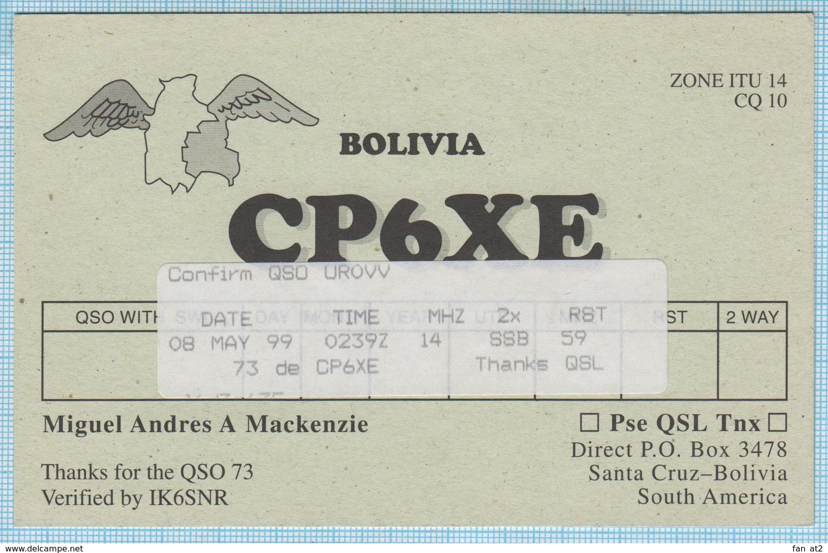BOLIVIA / QSL Card / South America. Radio Amateur. Santa Cruz 1999. - Radio-amateur