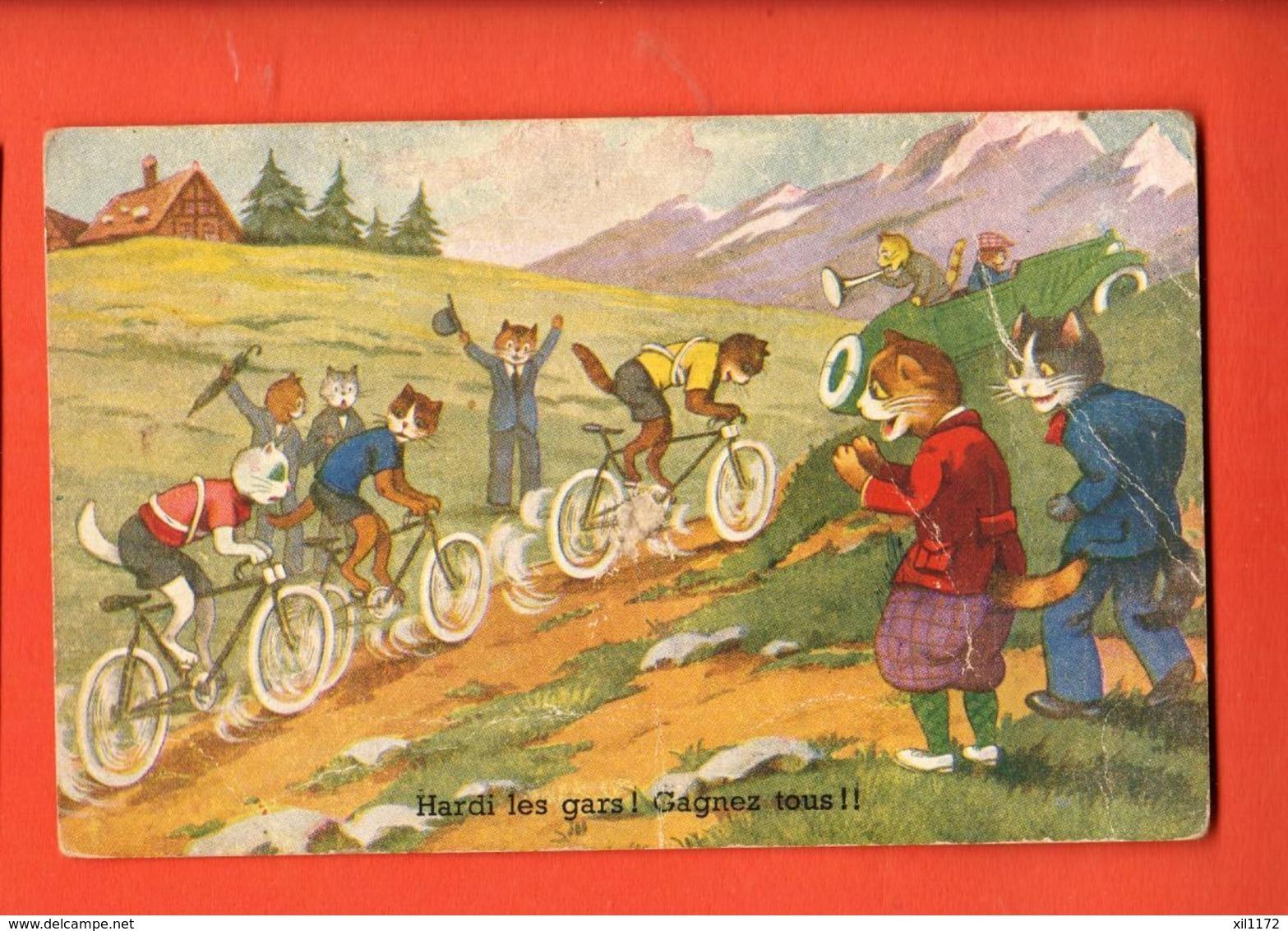 KAH-31 Animaux Humanisés Course à Vélo, Cyclisme, Tour De France. Circulé Sous Enveloppe Depuis Angoulème En 1946, - Animali Abbigliati