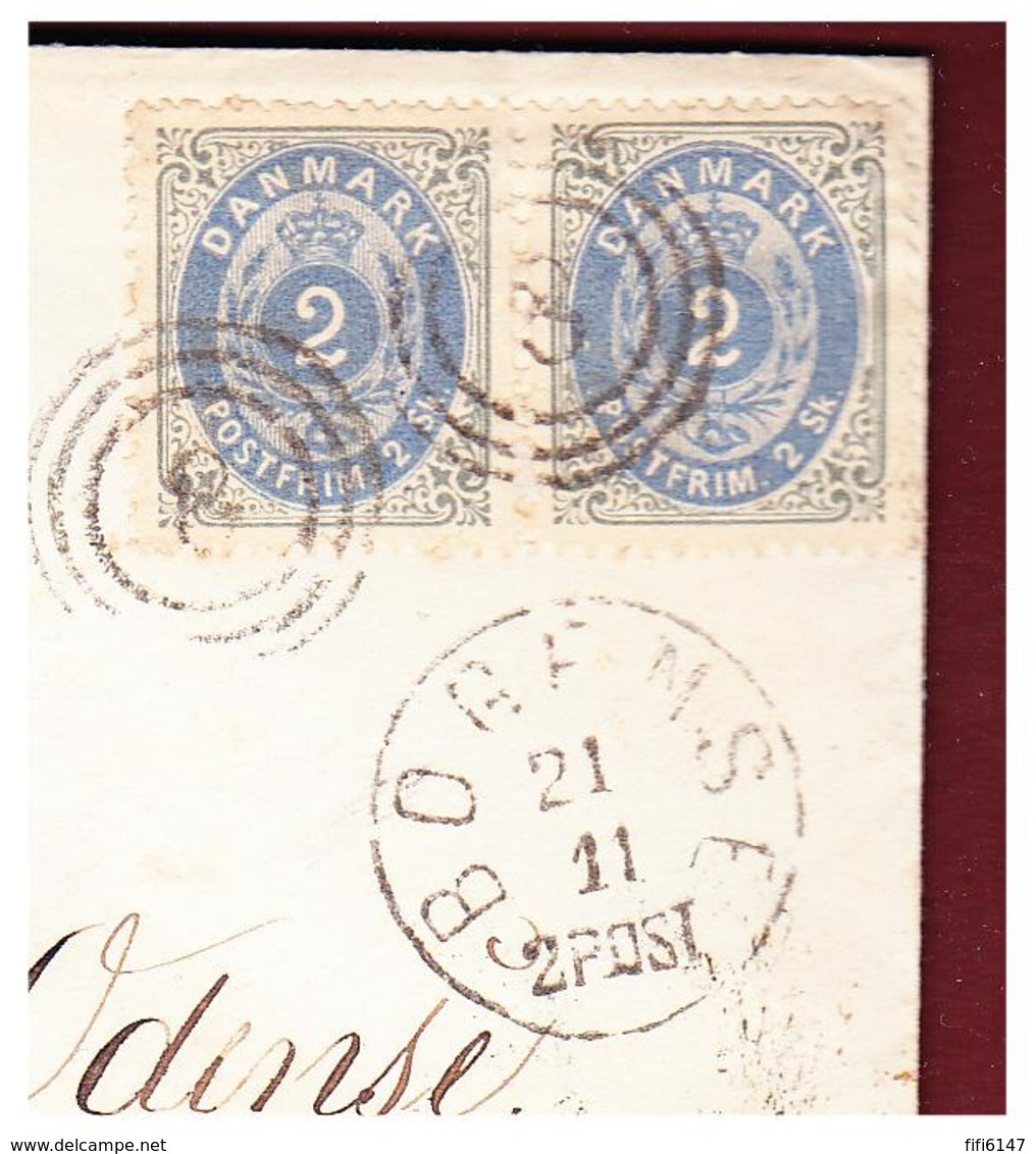 DANEMARK -- 1870-- LETTRE DE BOGENSE POUR ODENSE -- PAIRE DU 2 SKILLING -- - 1864-04 (Christian IX)