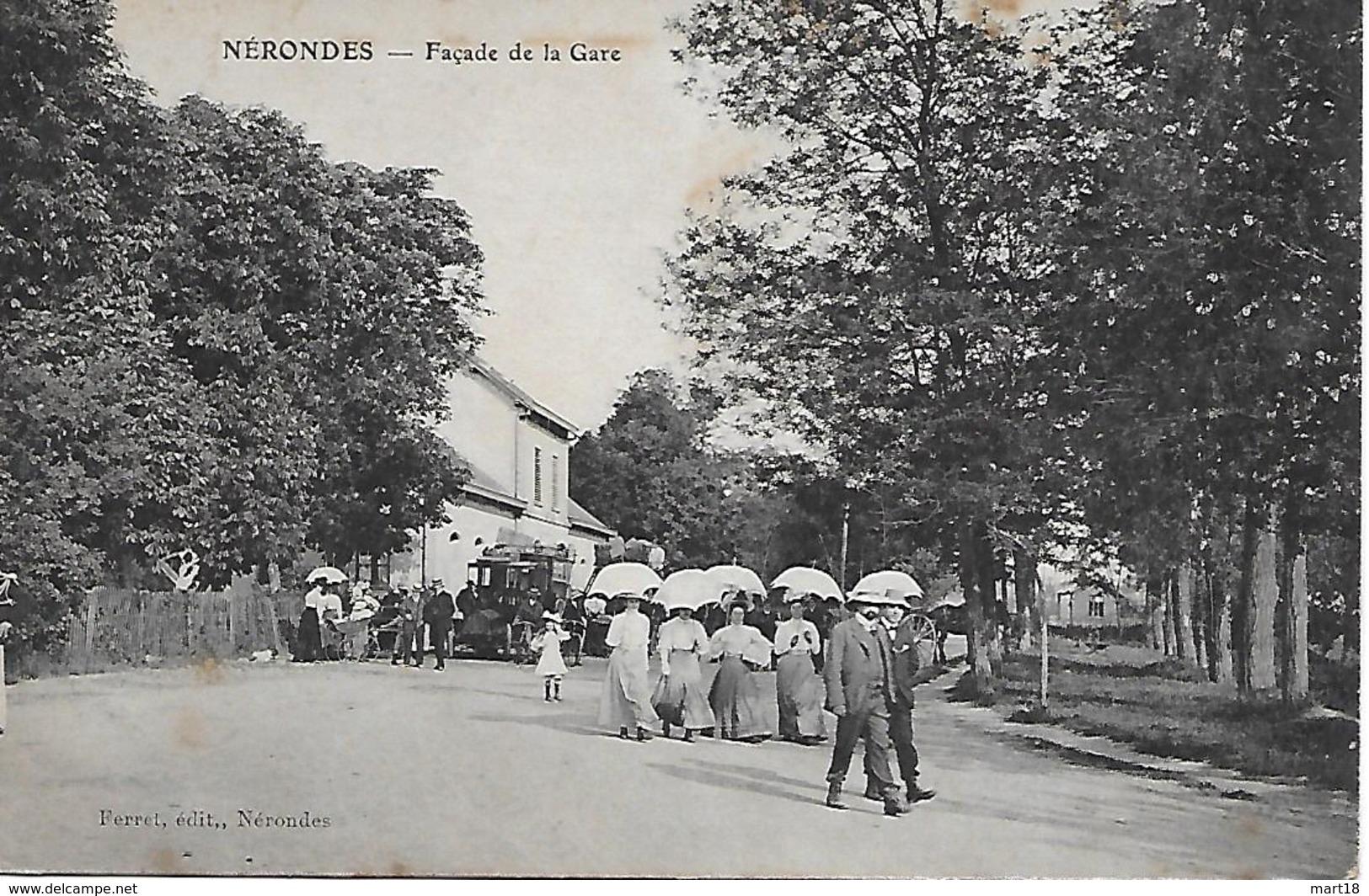 Carte Postale - NERONDES (18) Façade De La Gare - 1912 - - Nérondes
