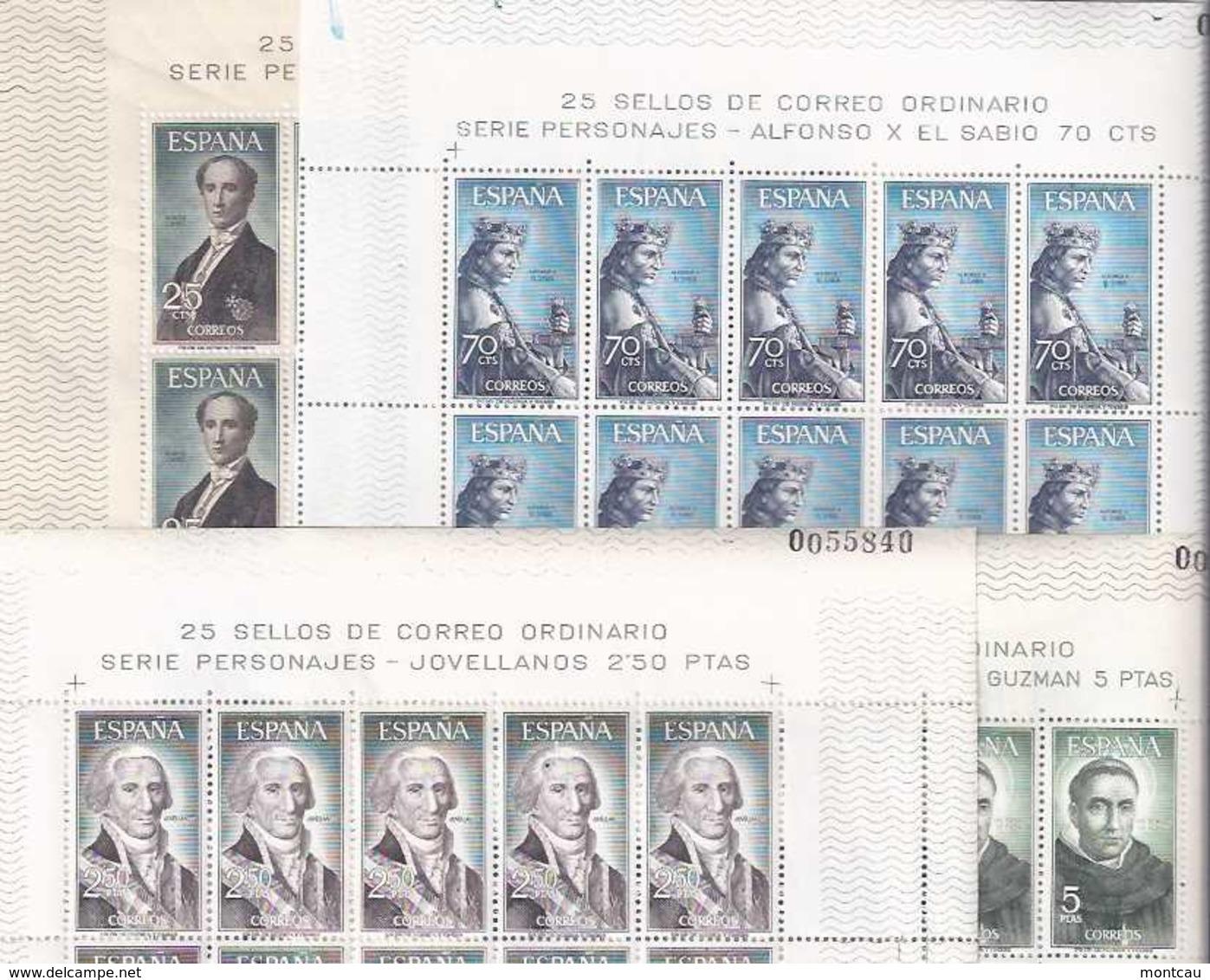 Spain 1965 - Personajes Ed 1653-56 - 25 Series En Hoja - 1961-70 Nuevos & Fijasellos