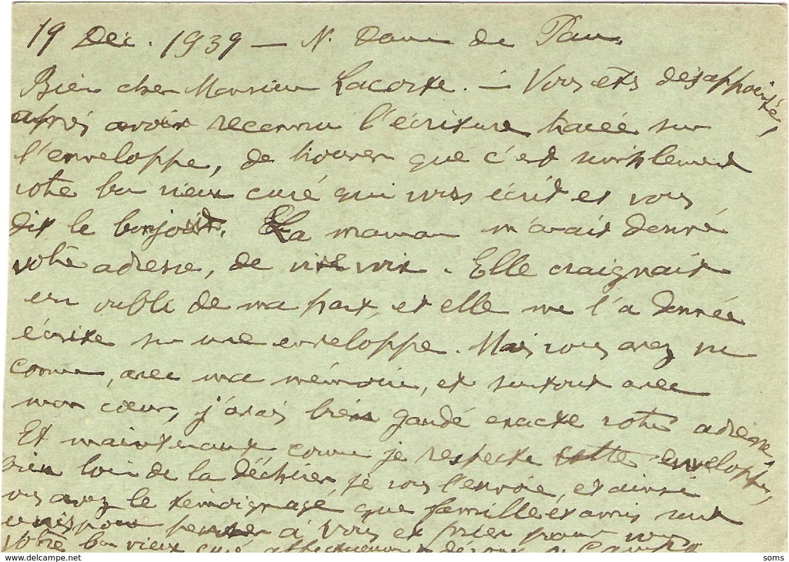 Cpa De Pau Circulée En 39-45, FM, Envoyée Par Le Père Camps, Curé De Notre-Dame En Décembre 1939 - Pau