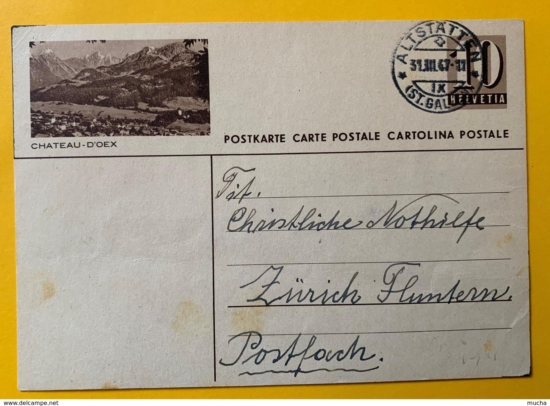 9518 - Entier Postal Illustration Château D'Oex Altstätten 31.03.1947 - Interi Postali