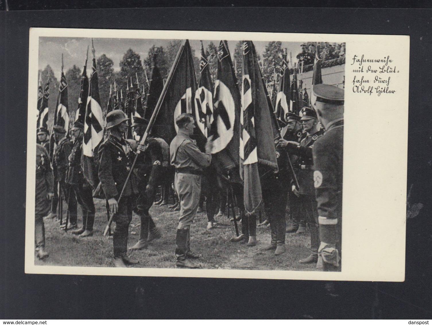 Dt. Reich AK Fahnen Hitler SS - Personaggi Storici