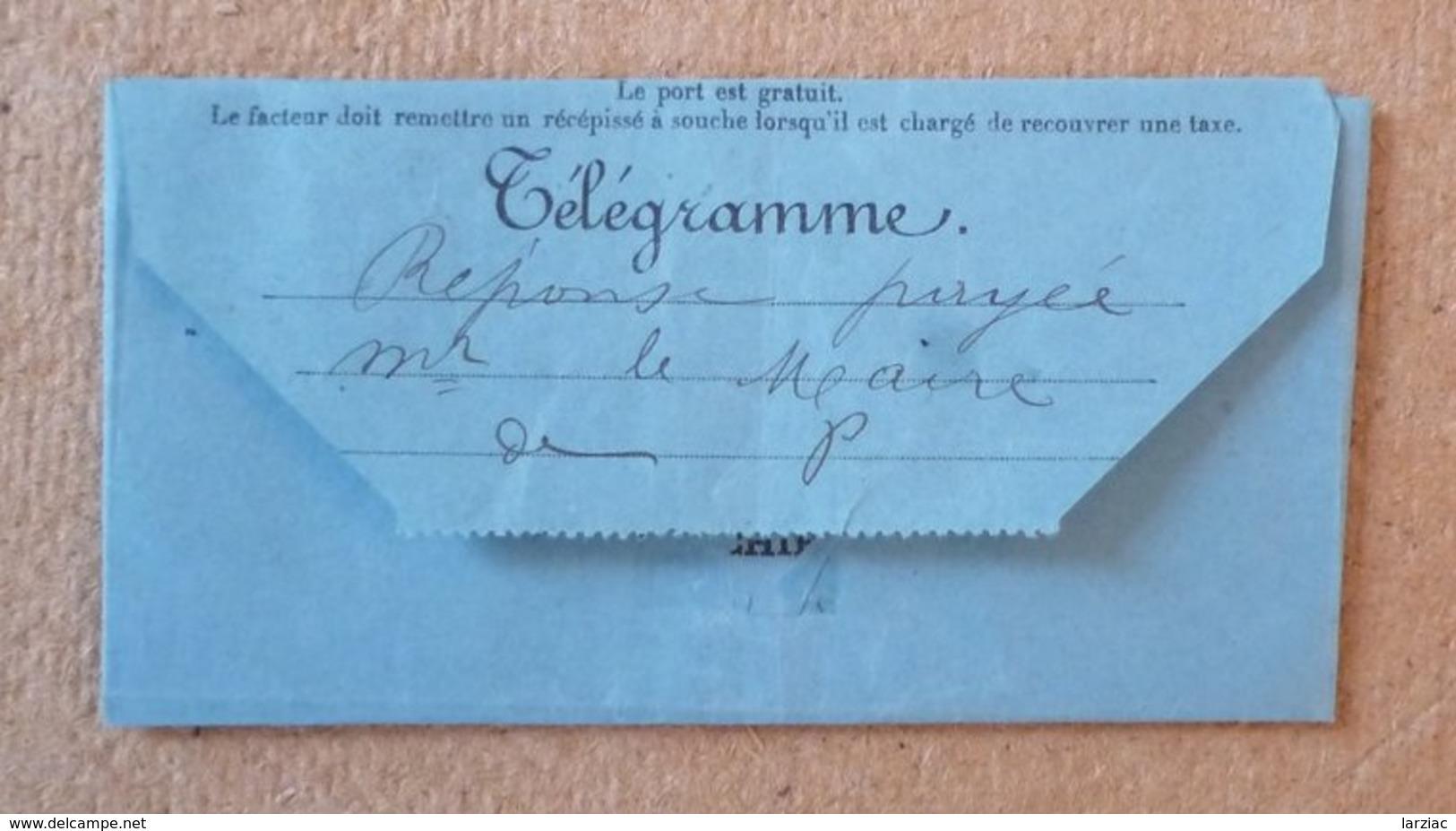 Télégramme Pelissanne Bouches Du Rhône 1899 - Telegraaf-en Telefoonzegels