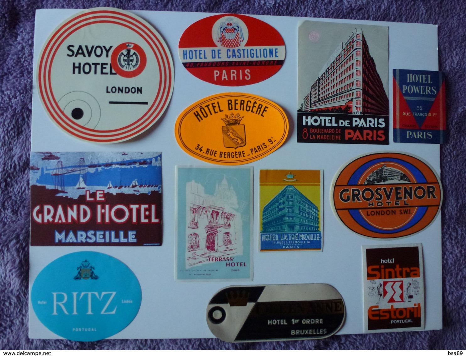 LOT N° 10 DE 12 ETIQUETTES D'HÔTEL, VOIR SCAN - Hotel Labels