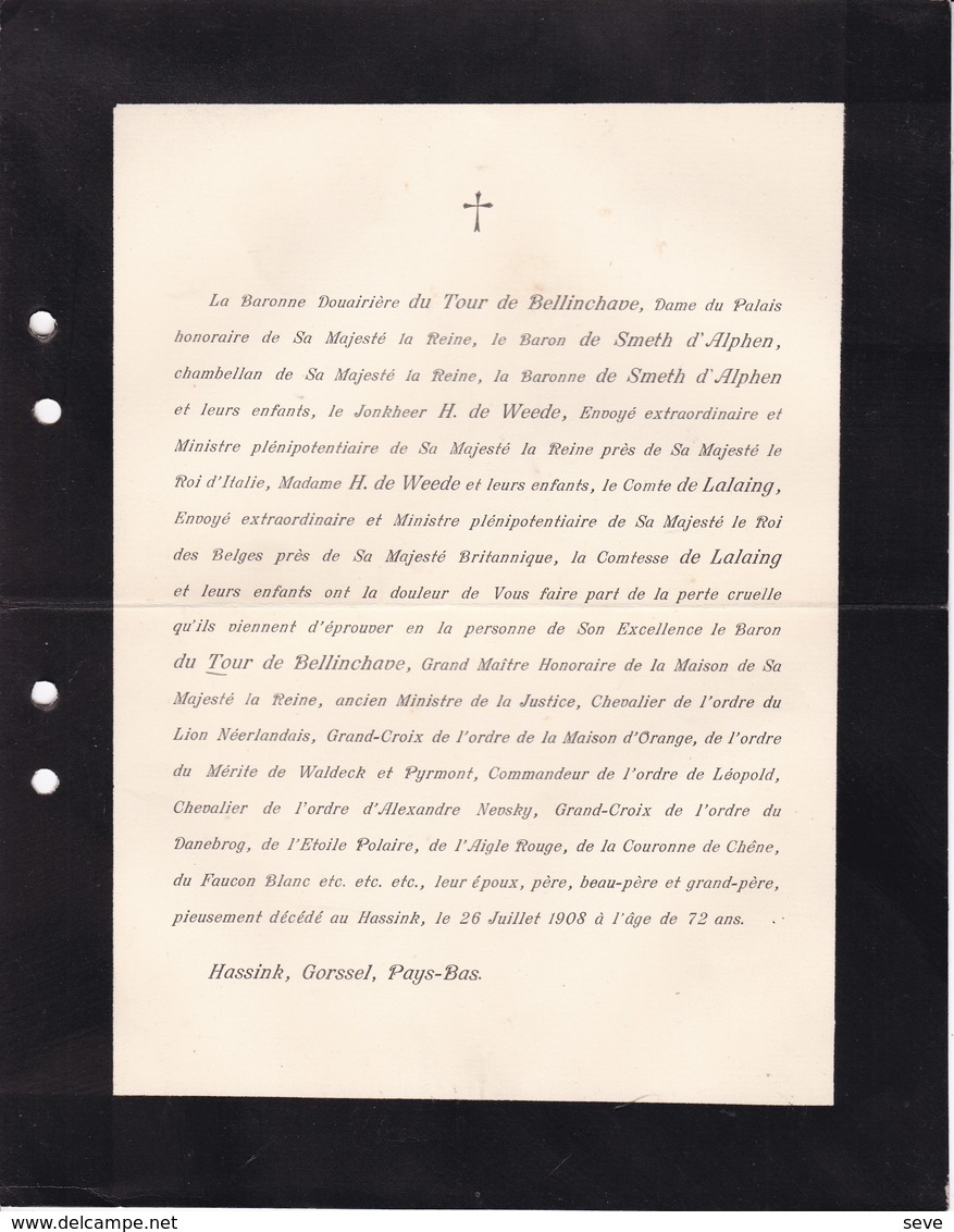 HASSINK GORSSEL Baron Du TOUR De BELLINCHAVE Ancien Ministre Justice Grand Maître Reine Des Pays-Bas 72 Ans 1908 - Overlijden