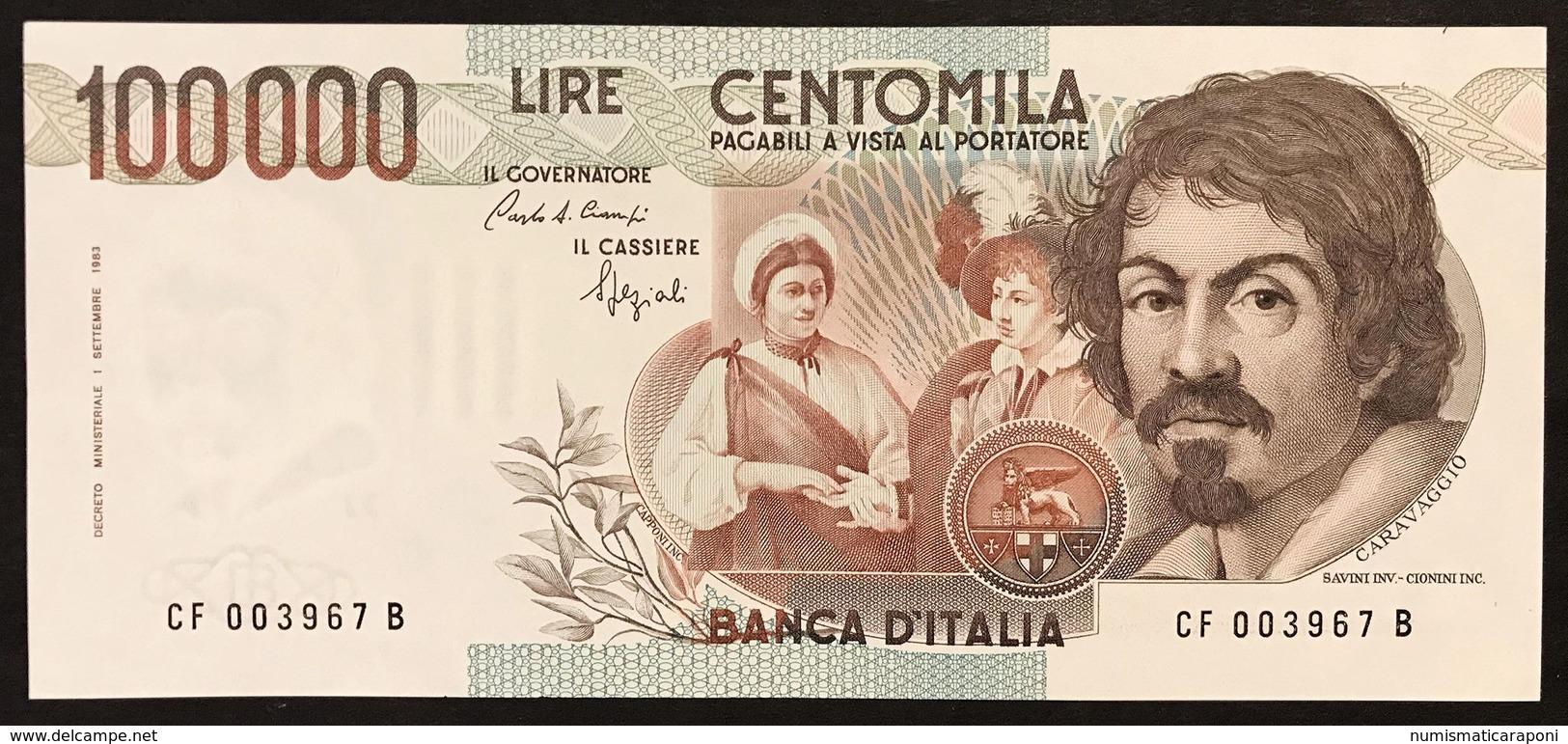 100000 Lire Caravaggio I° Tipo 1993 F  Q.fds Ottimo Biglietto LOTTO 3001 - [ 2] 1946-… Republik