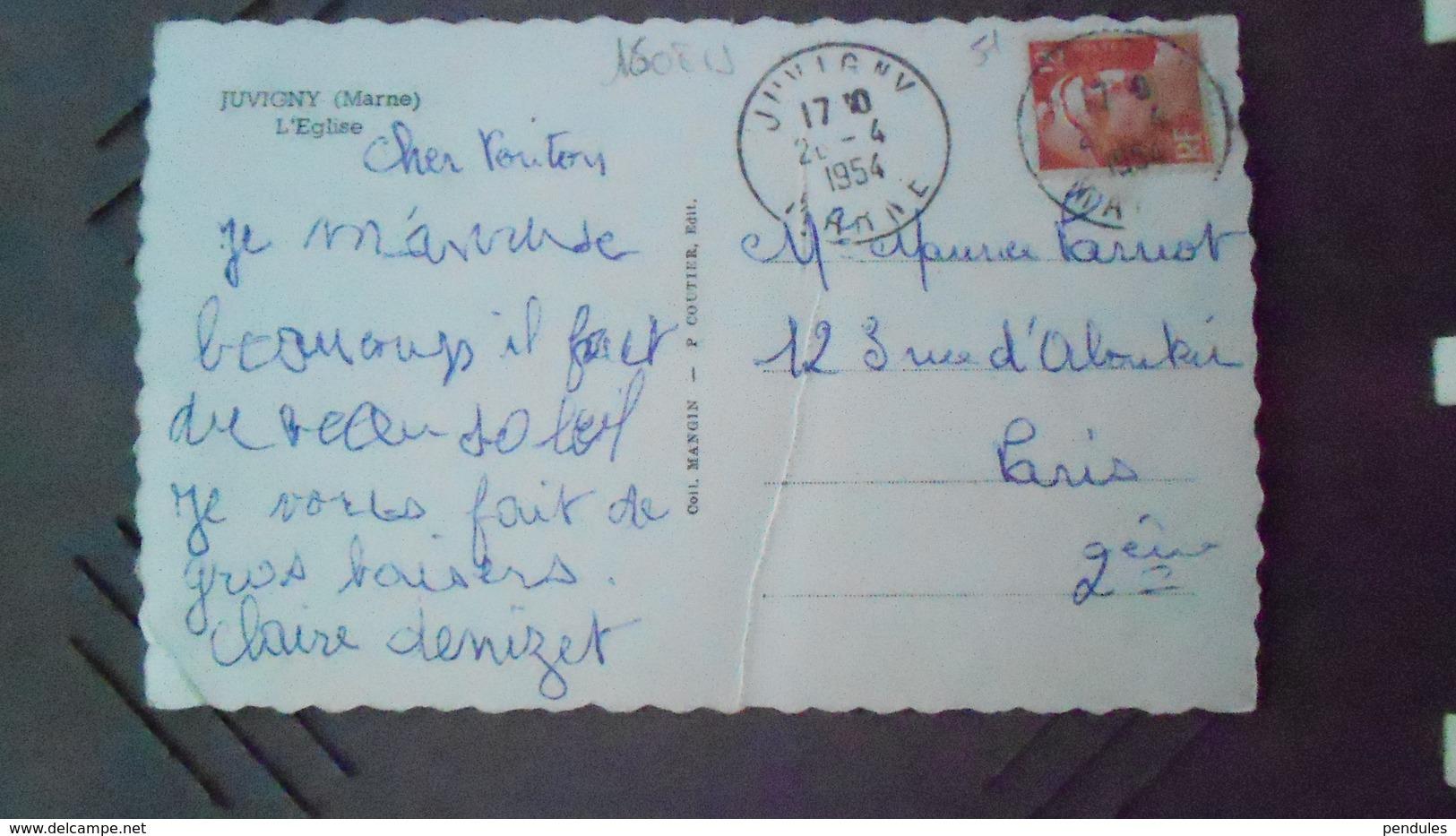 51CARTE DE JUVIGNYN° DE CASIER 1608 UCIRCULEPLIURE - France