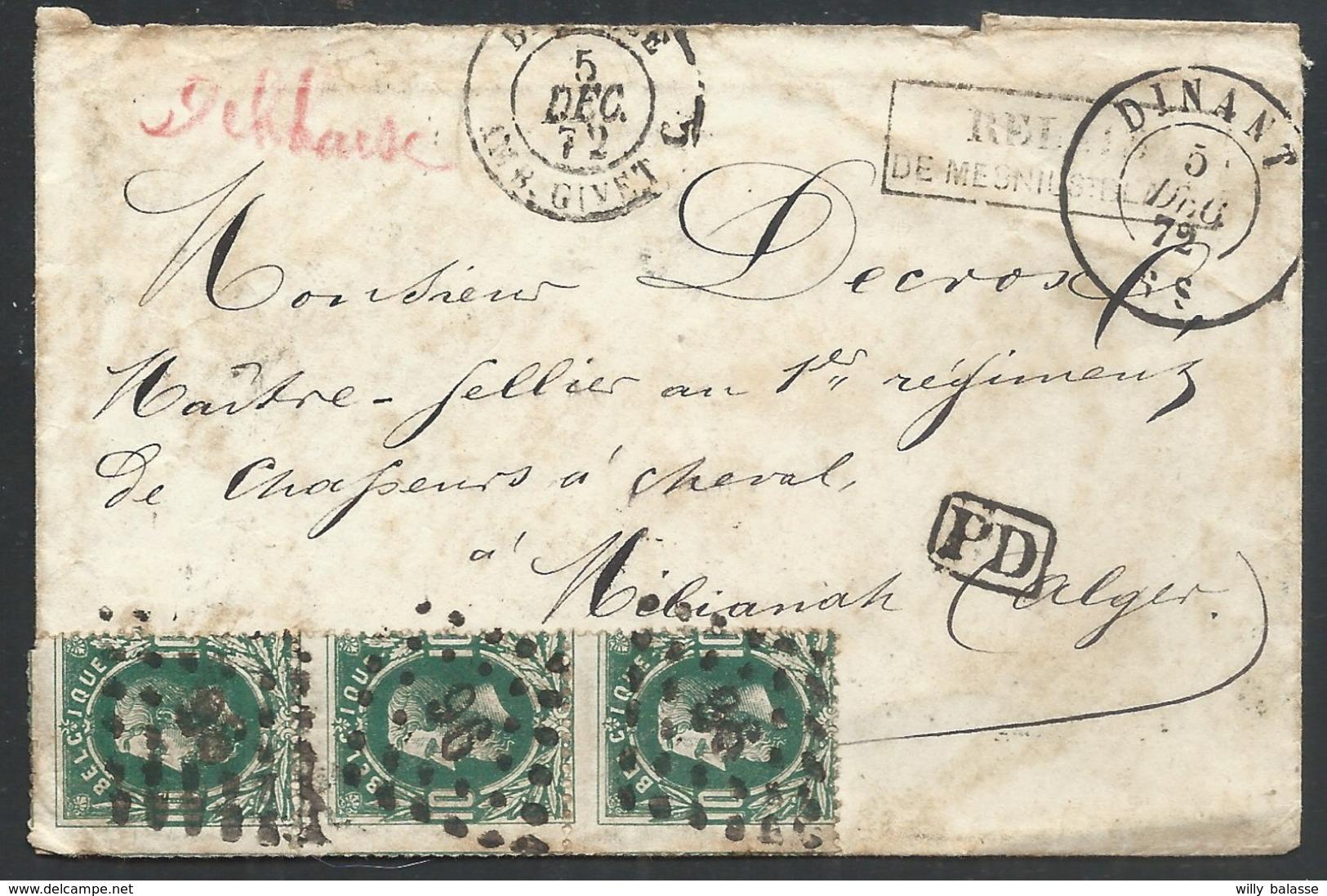 Envel. Affr. N°30 X3 Lpts 96 DINANT/5/DEC/72 + RELAIS/DE MESNIL ST BLAISE Pour Mélianah Algérie. Seule Pièce Connue - 1869-1883 Léopold II