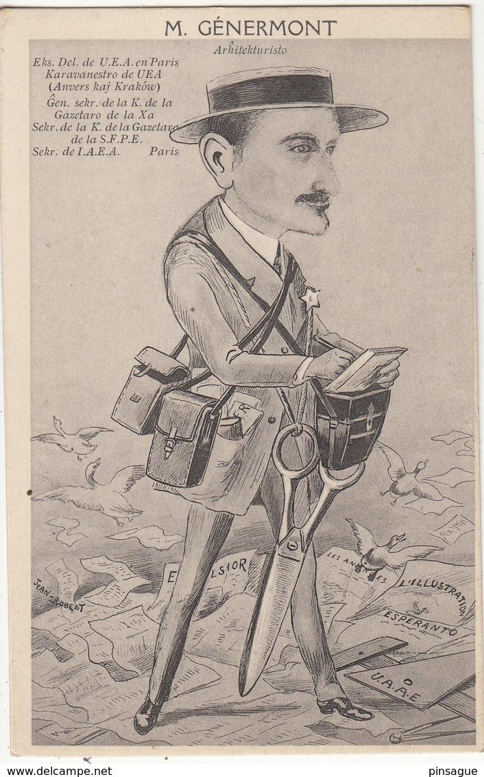 ESPERANTO : Illustrateur Jean ROBERT -    M. GENERMONT  PARIS ARCHITECTURE - Esperanto