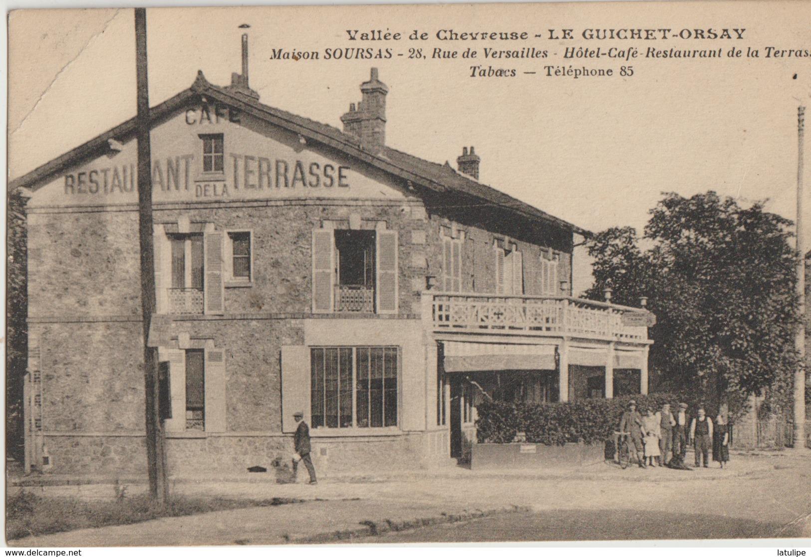 Le Guichet-Orsay  91  Maison SOURSAS_ Hotel-Café-Restaurant De La Terrasse-Tabacs- Bien Animée - Orsay
