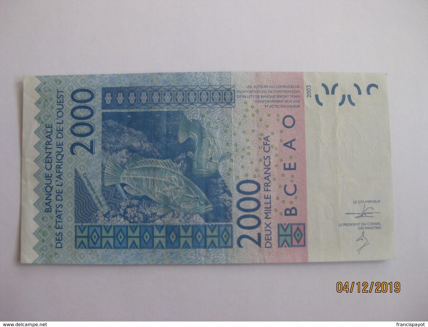 Banque Des Etats D'Afrique Occidentale: 2000 Francs 2003 - West African States