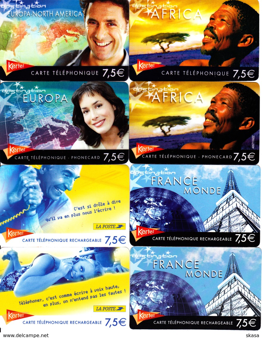 8 Cartes Prépayées Kertel 7,5€ Différentes - Andere Voorafbetaalde Kaarten