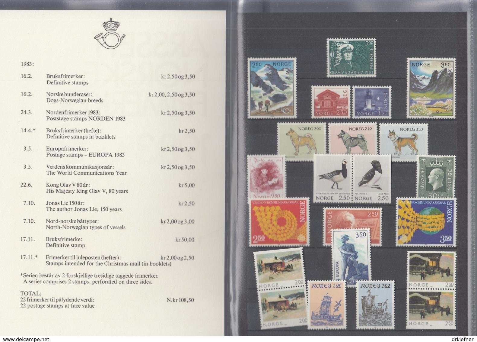 NORWEGEN  Jahrbuch 1983, Postfrisch **, MiNr.  876-895 - Ganze Jahrgänge