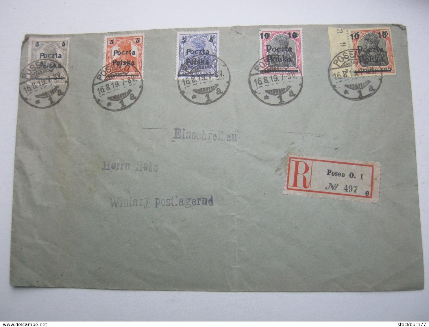 1919 , POSEN , Einschreiben Nach Winiary - ....-1919 Provisional Government