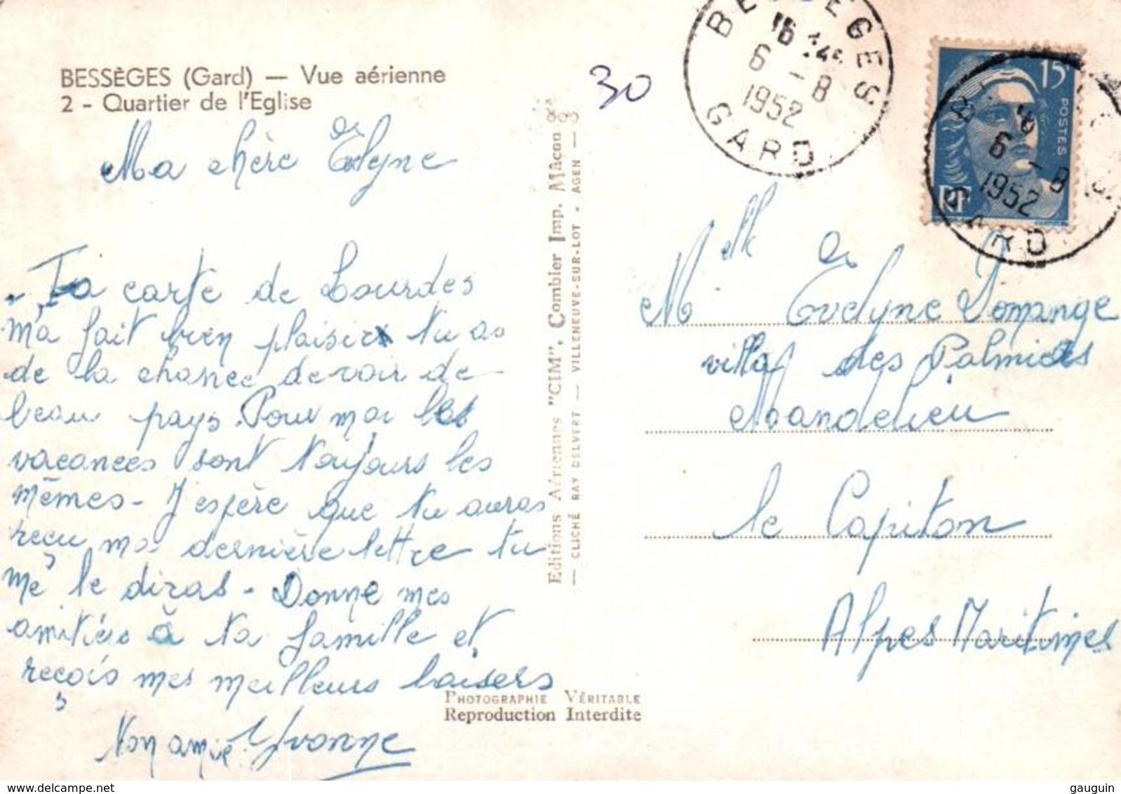 CPSM - BESSEGES - VUE AERIENNE - QUARTIER De L'EGLISE - Edition Combier - Bessèges