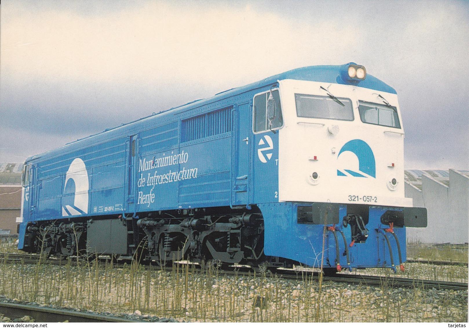 Nº 883 POSTAL DE LOCOMOTORA DIESEL ELECTRICA 321.057 EN VILLAVERDE BAJO (TREN-TRAIN-ZUG) AMICS DEL FERROCARRIL - Trenes