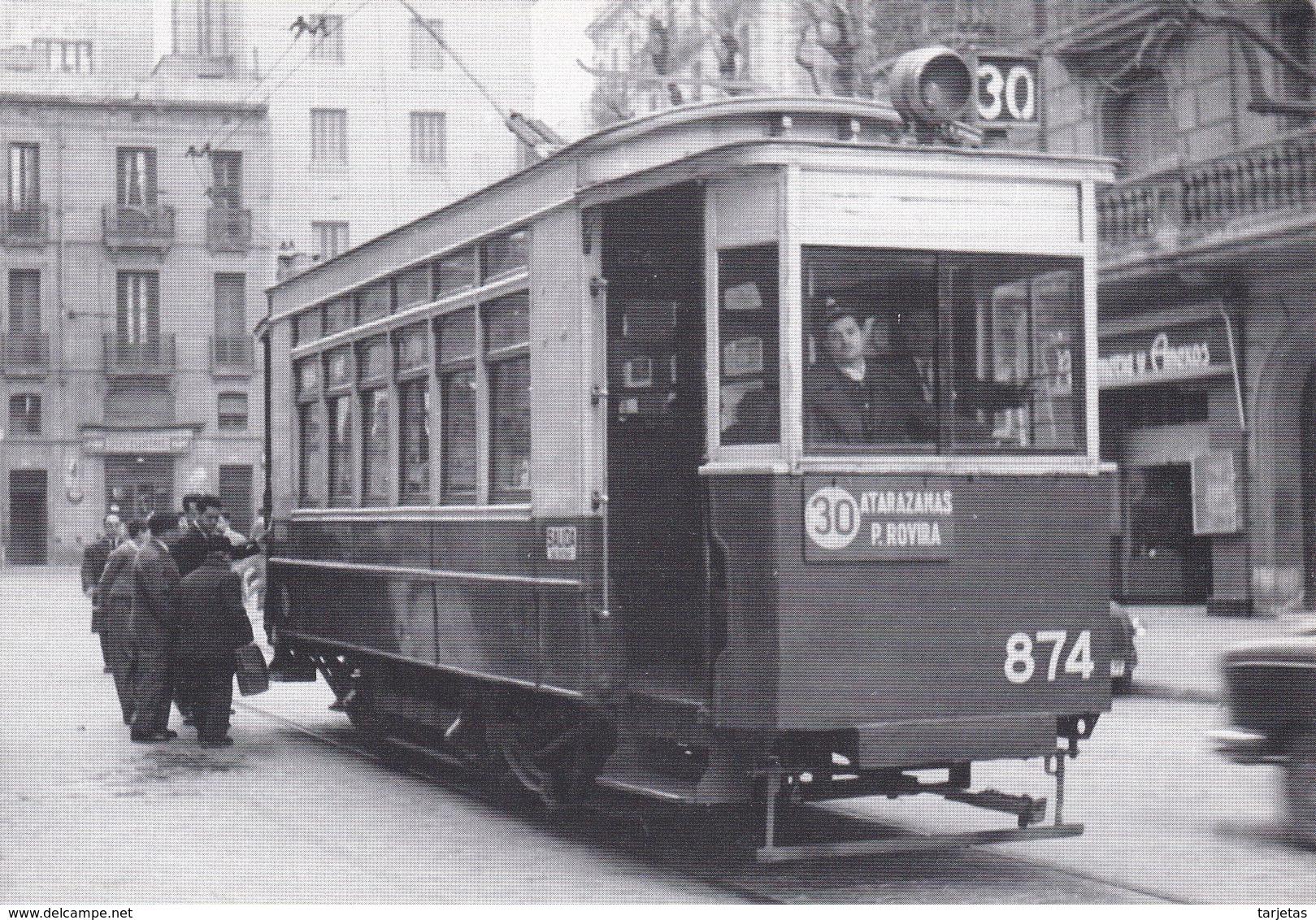 Nº 4 POSTAL DE TRANVIA DE BARCELONA SERIE 860-889 (TREN-TRAIN-ZUG) AMICS DEL FERROCARRIL - Tranvía