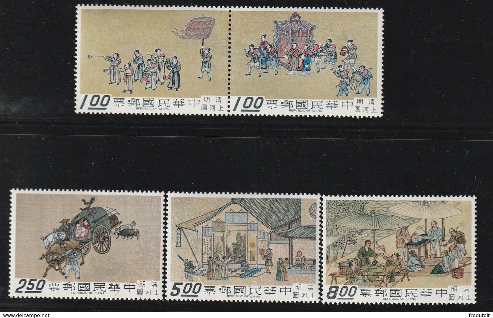 """TAIWAN (FORMOSE) - N°655/9 ** (1969) Peinture Sur Rouleau """"ville De Chine"""" - 1945-... Republiek China"""
