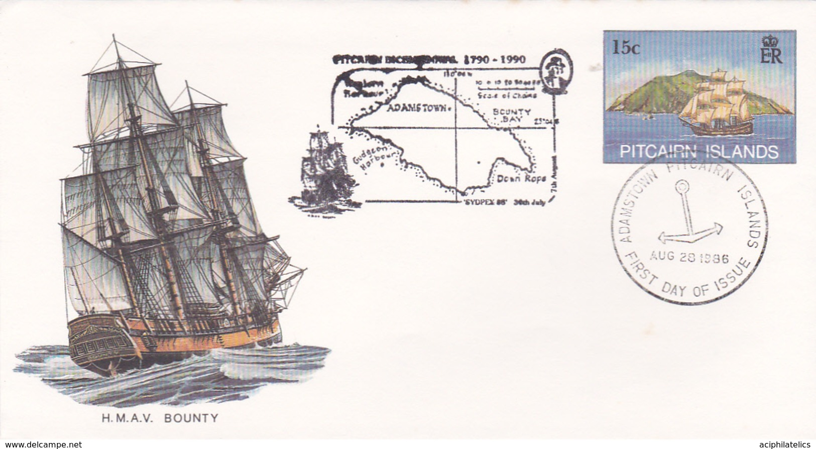 Pitcairn Islands 1986 HMAV Bounty, Souvenir Cover - Stamps