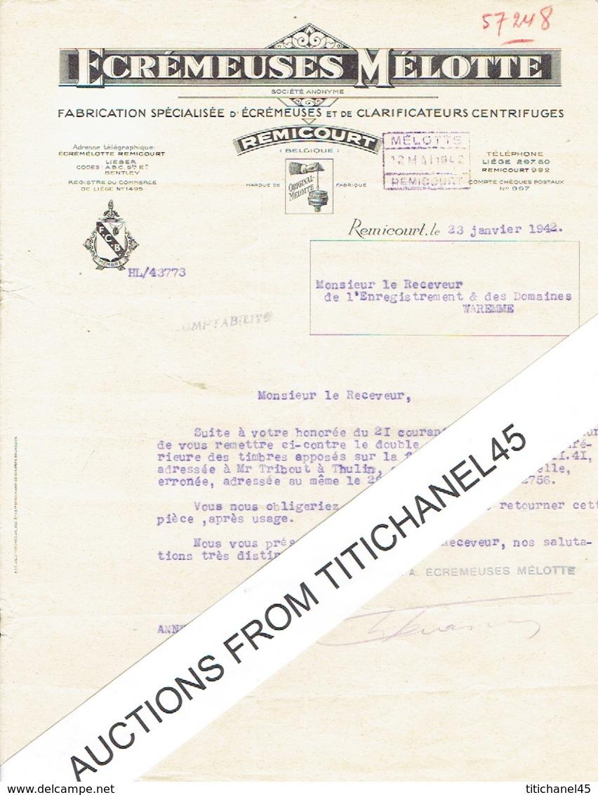 Lettre De 1942 REMICOURT - ECREMEUSES MELOTTE - Fabrication D'écrémeuses Et De Clarificateurs Centrifuges - Belgique