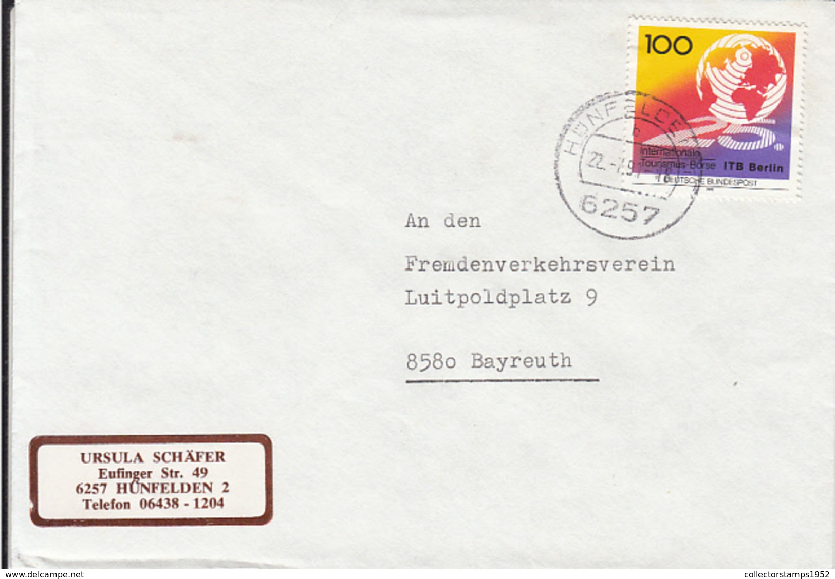 84030- BERLIN TOURISM FAIR STAMPS ON COVER, 1991, GERMANY - Storia Postale