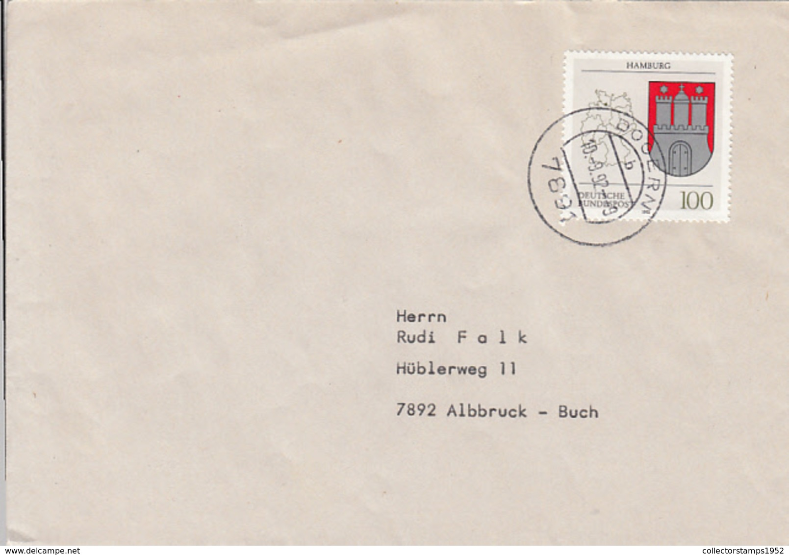 84036- HAMBURG COAT OF ARMS STAMPS ON COVER, 1992, GERMANY - Storia Postale