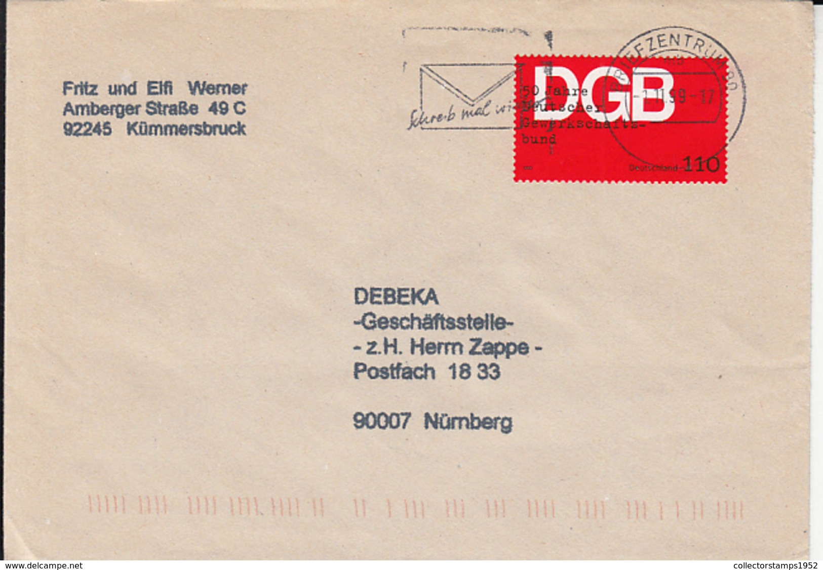 84095- TRADE UNION ANNIVERSARY STAMP ON COVER, 1999, GERMANY - Storia Postale