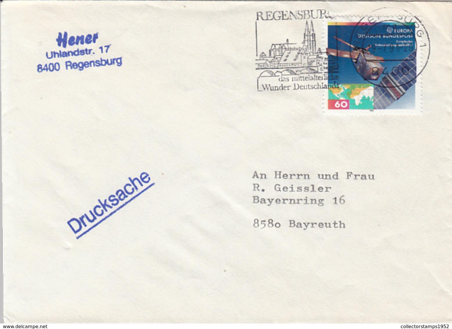 84100- EUROPA CEPT, SATELLITE STAMPS ON COVER, REGENSBURG SPECIAL POSTMARK, 1991, GERMANY - Storia Postale