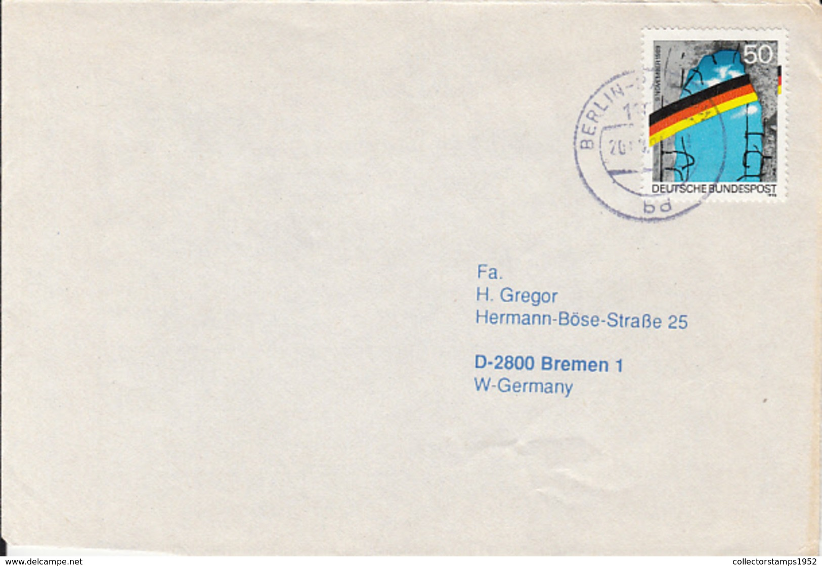 84139-FALL  OF THE BERLIN WALL STAMPS ON COVER, 1991, GERMANY - Storia Postale