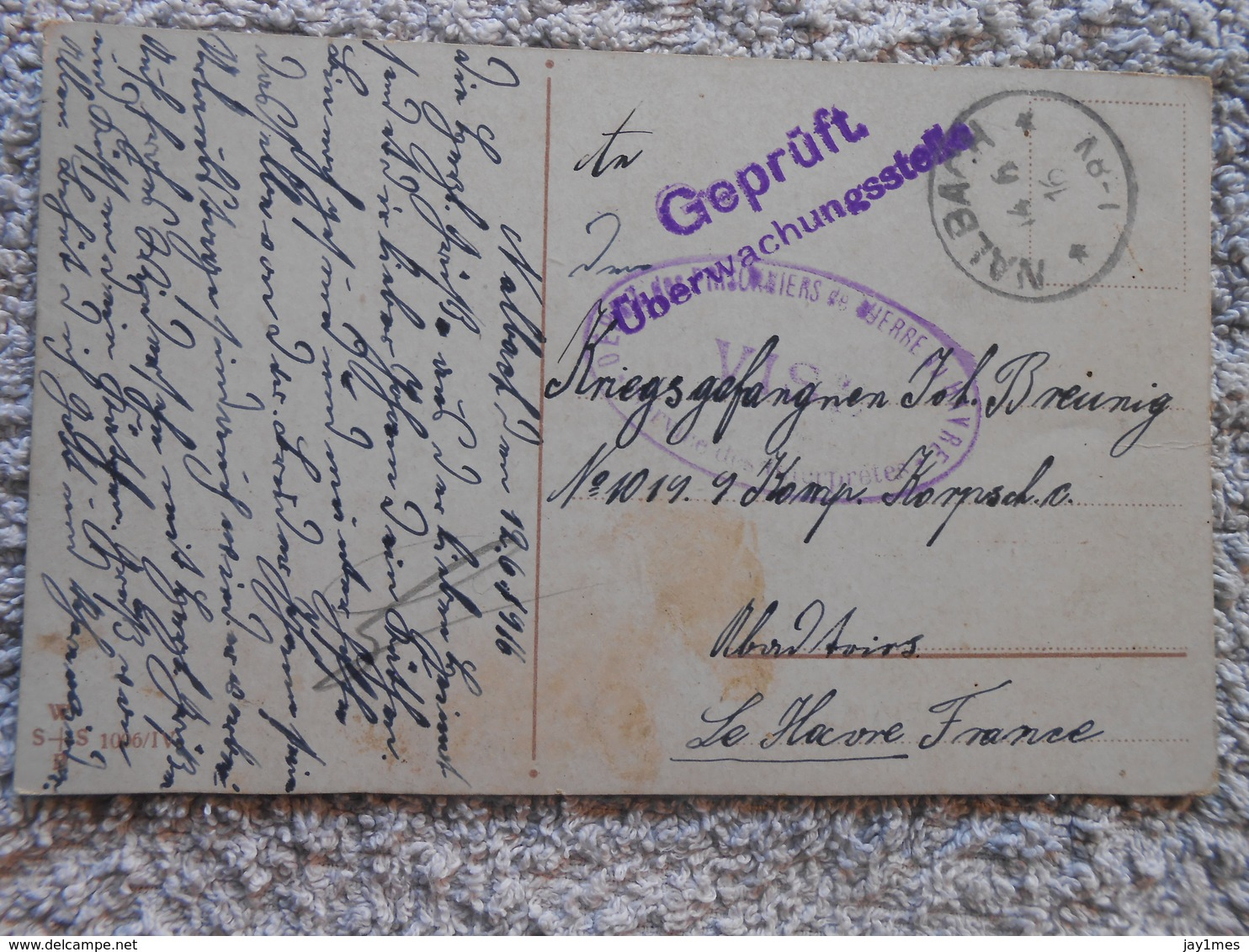 3 Cpa PRISONNIERS De GUERRE - KRIEGSGEFANGENEN Deutschland Nalbach Pour Le Havre Censure Ww1 1wk 14-18 - Oorlog 14-18
