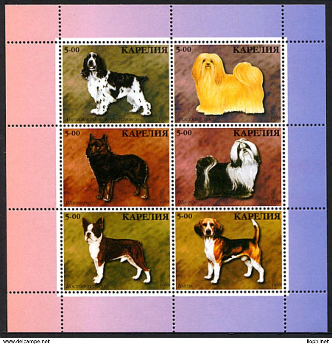 CARELIE KARELIA 1999, CHIENS / DOGS, Feuillet De 6 Valeurs, NEUFS / MINT. R1331 - Vignettes De Fantaisie