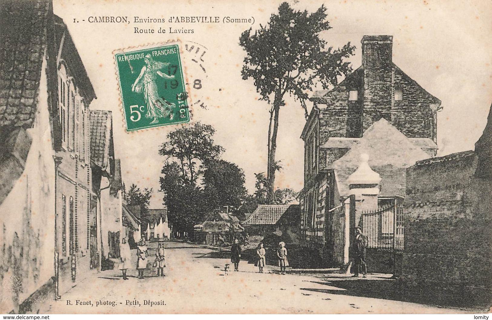 80 Cambron Route De Laviers Cpa Carte Animée - Autres Communes