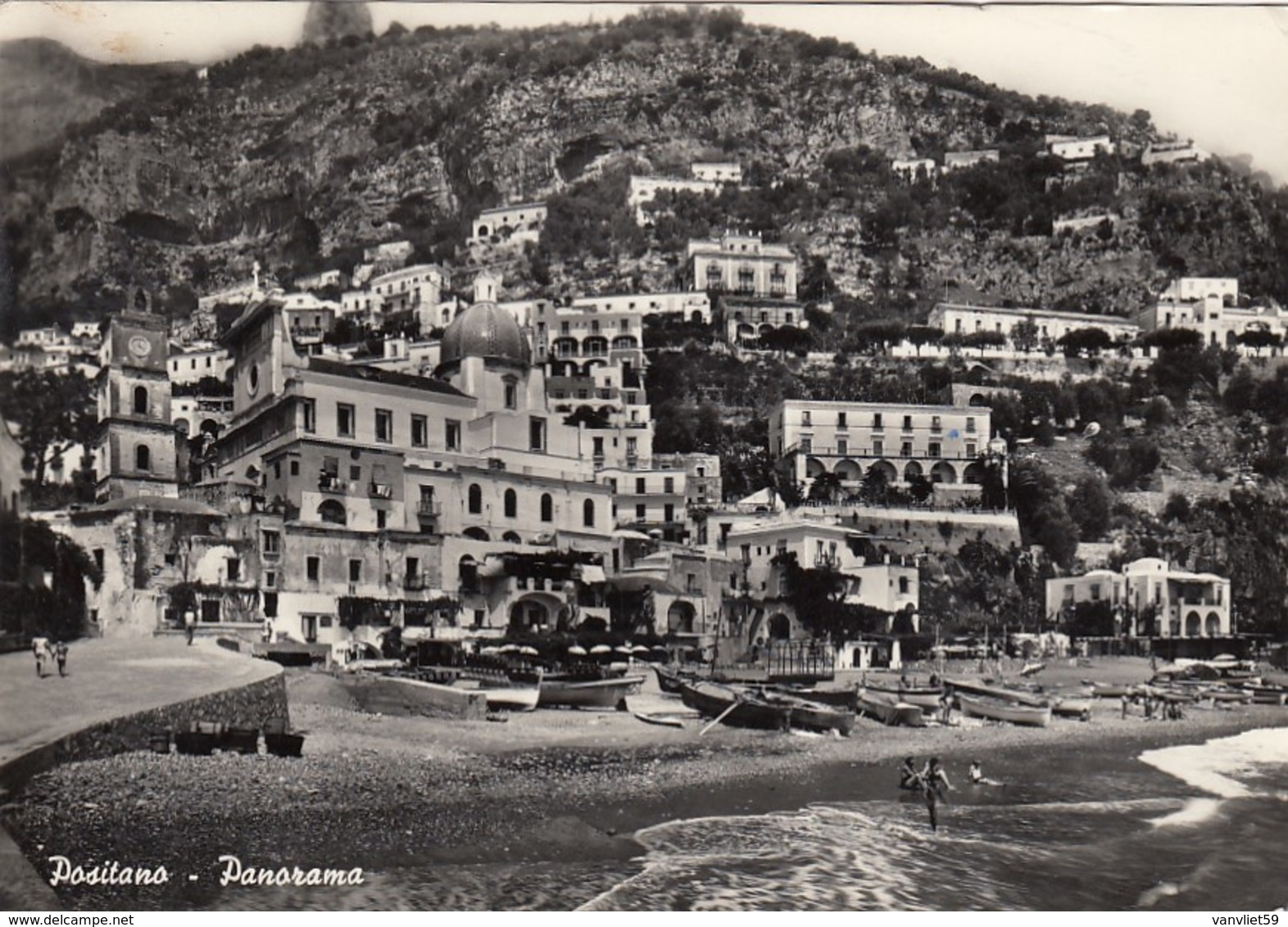 POSITANO-PANORAMA-CARTOLINA VERA FOTOGRAFIA - VIAGGIATA IL 13-7-1953 - Salerno