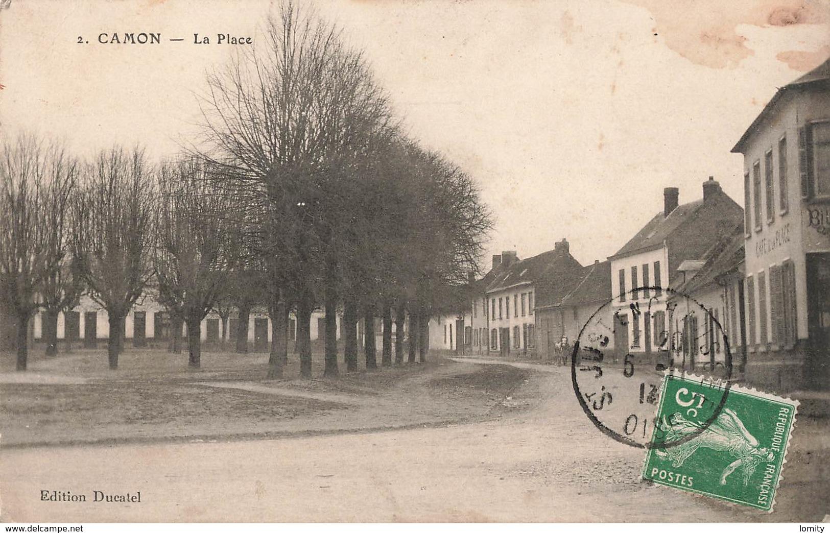 80 Camon La Place Cpa Cachet 1913 - France