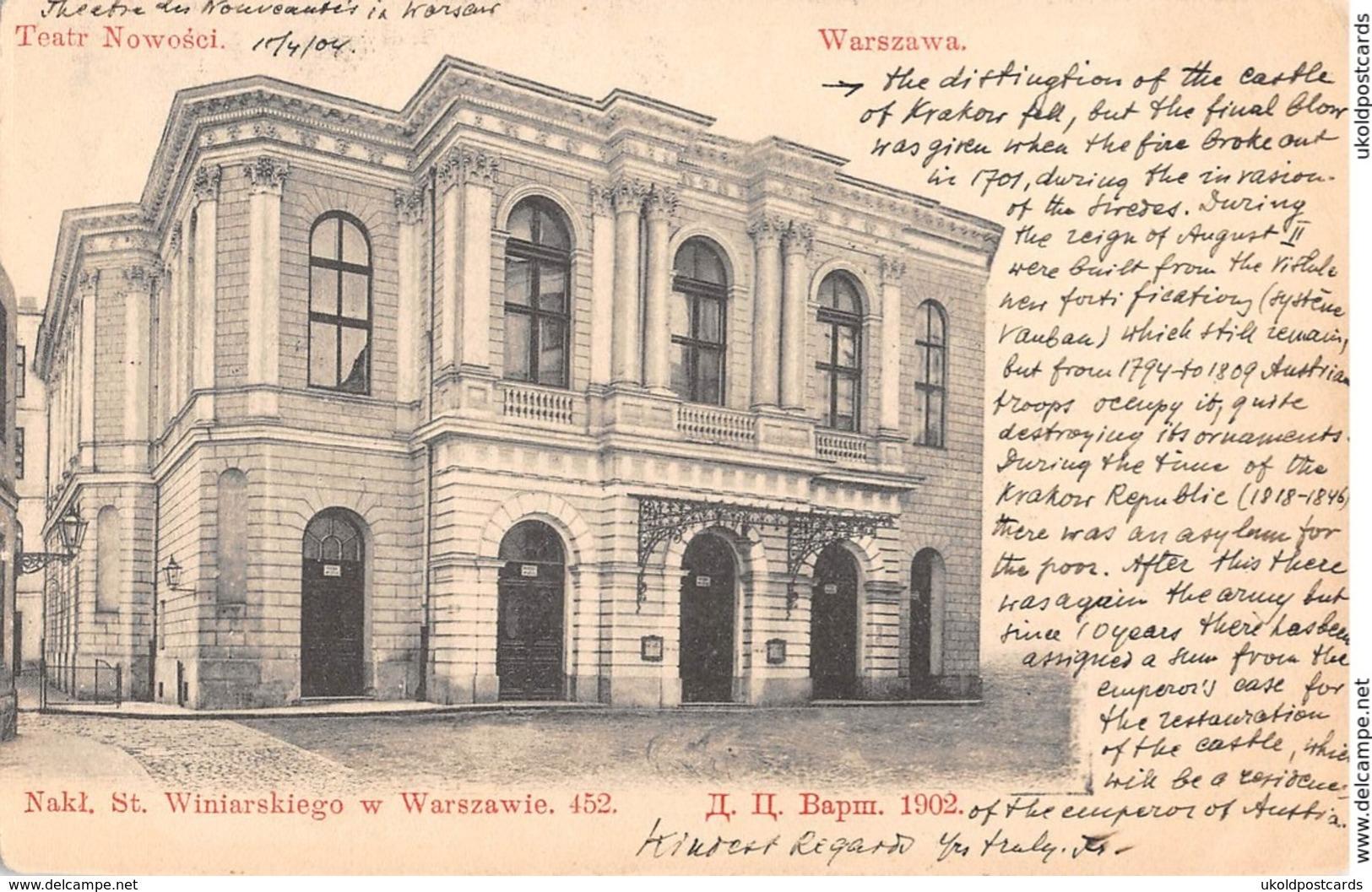 CPA - Pologne - Poland, WARSZAWA. Teatr Nowosci, 1904 - Poland