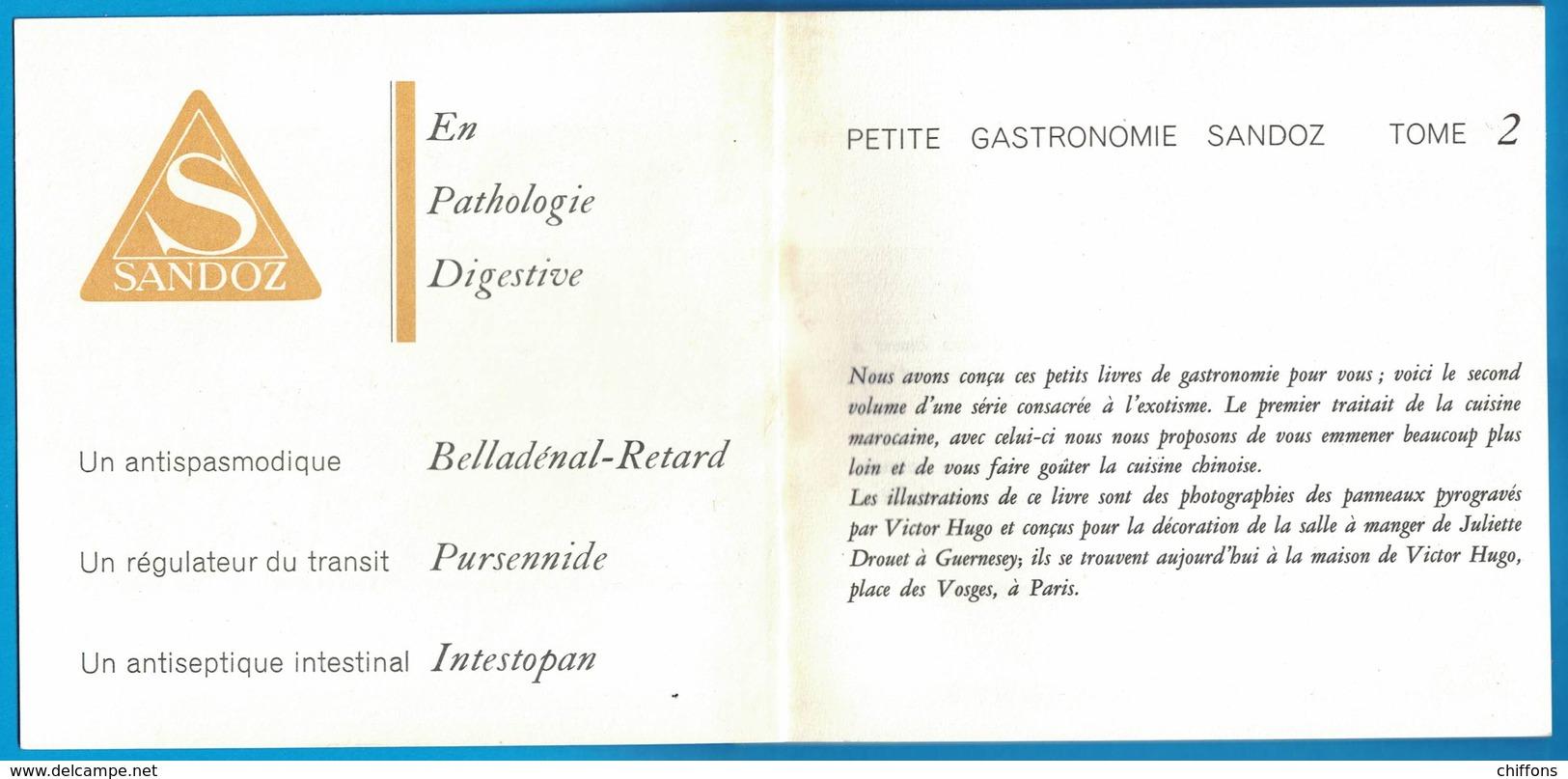 LIVRET PETITE GASTRONOMIE CHINOISE TOME 2 LABORATOIRES SANDOZ 6 RUE DE PENTHIEVRE PARIS - Publicités